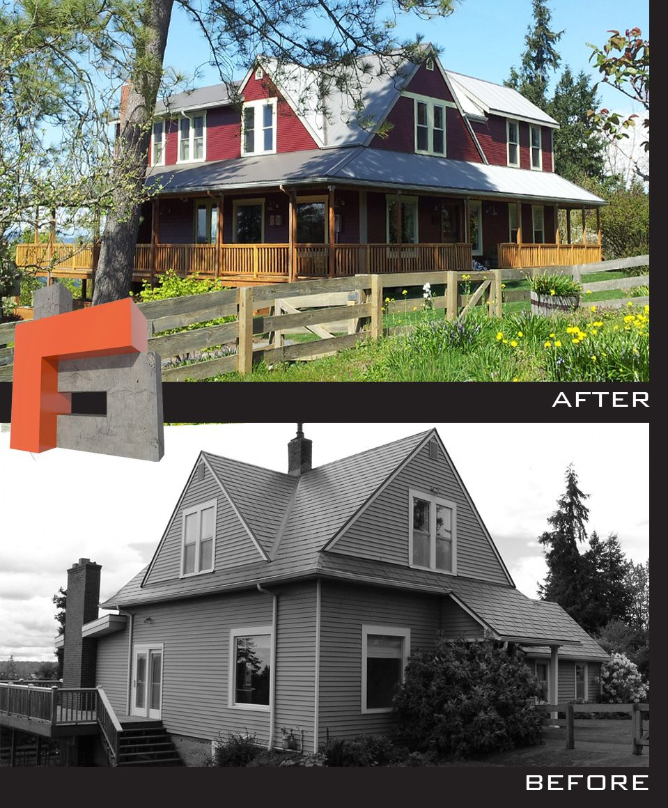 Original Farmhouse in Normandy Park, Seattle WA.  Added on and made the previous additions blend into the Architecture.