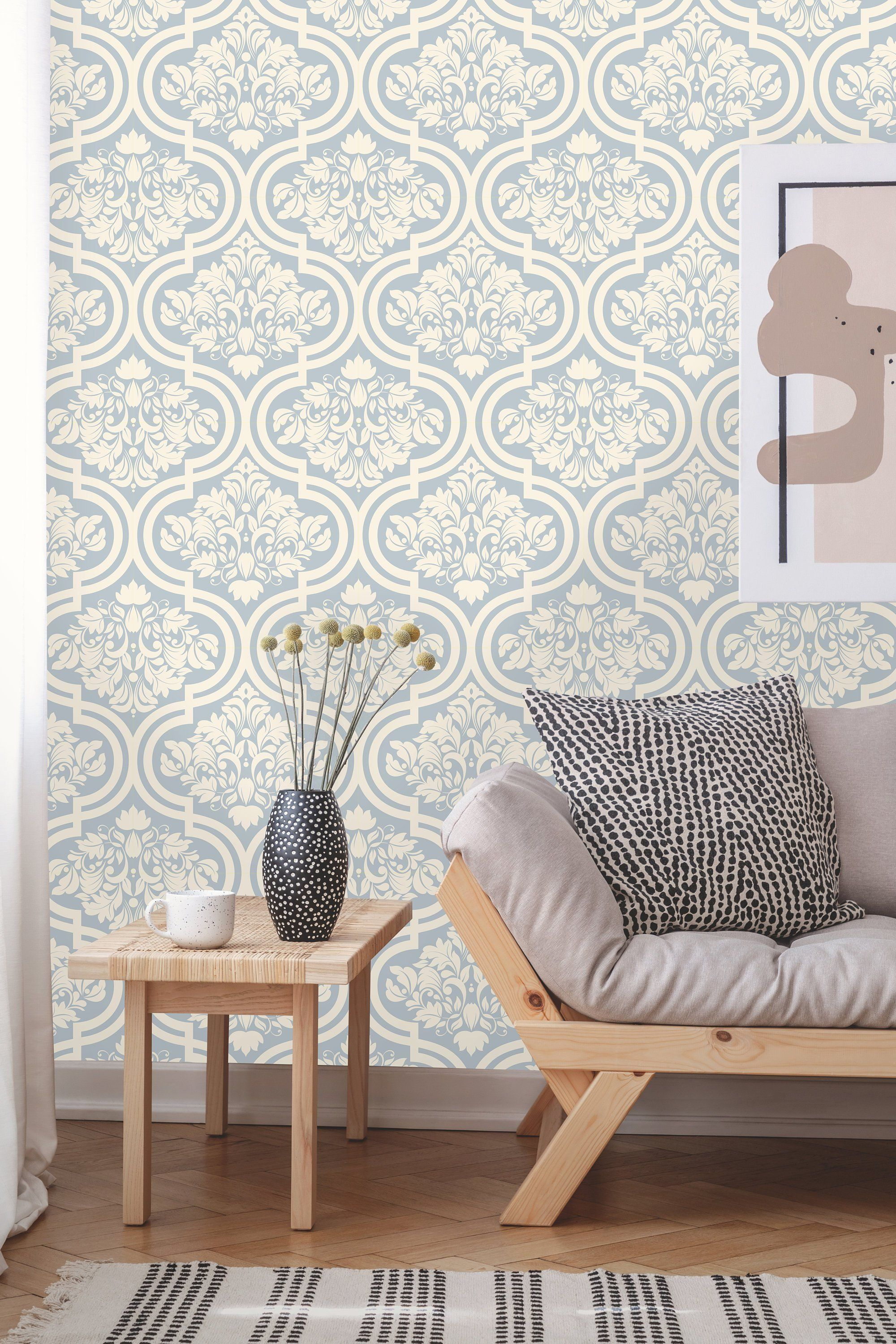 Removable Wallpaper Victorian Style Peel And Stick Geometric Etsy Removable Wallpaper Wallpaper Textured Walls