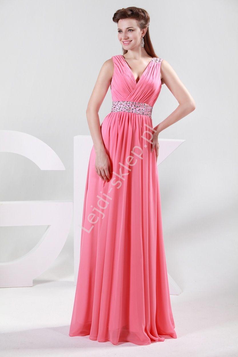 7a13b9af2 Koralowa długa suknia z kryształkowym pasem, dekolt kopertowy | suknie na…