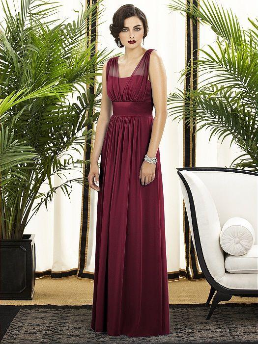 e0005e1307136 Dessy Collection Style 2890 Fabric: Lux Chiffon purchase swatch Full length  lux chiffon dress w/ v-neck and matte satin bodice. Wide matte satin  waistband ...