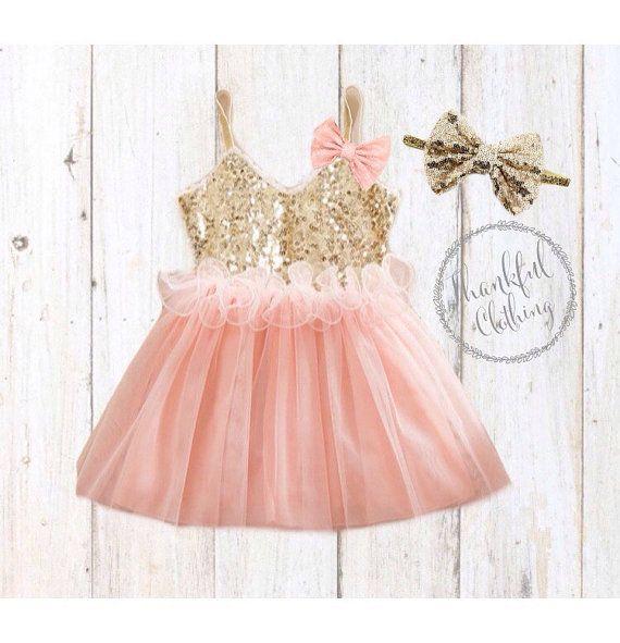 Pink & Gold Birthday Dress, 1St birthday dress, gold sequin dress ...