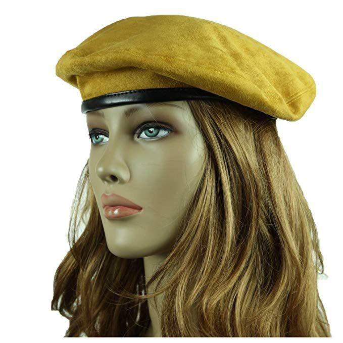 e4092ff81776b 90210 Wholesale Fashion Beret Suede Hat Artist Hats Casual Plain Beanie Cap  Slouch Unisex (Mustard)