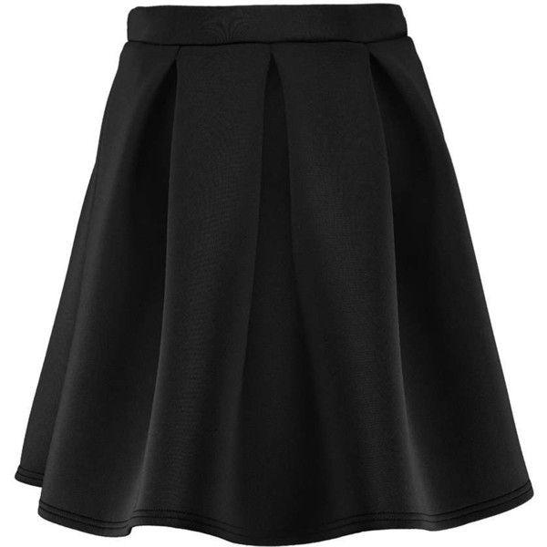 Boohoo Evadene Bonded Scuba Full Skater Skirt ($26) ❤ liked on Polyvore featuring skirts, skater skirt, flared mini skirt, evening skirts, mini skirt and holiday skirts