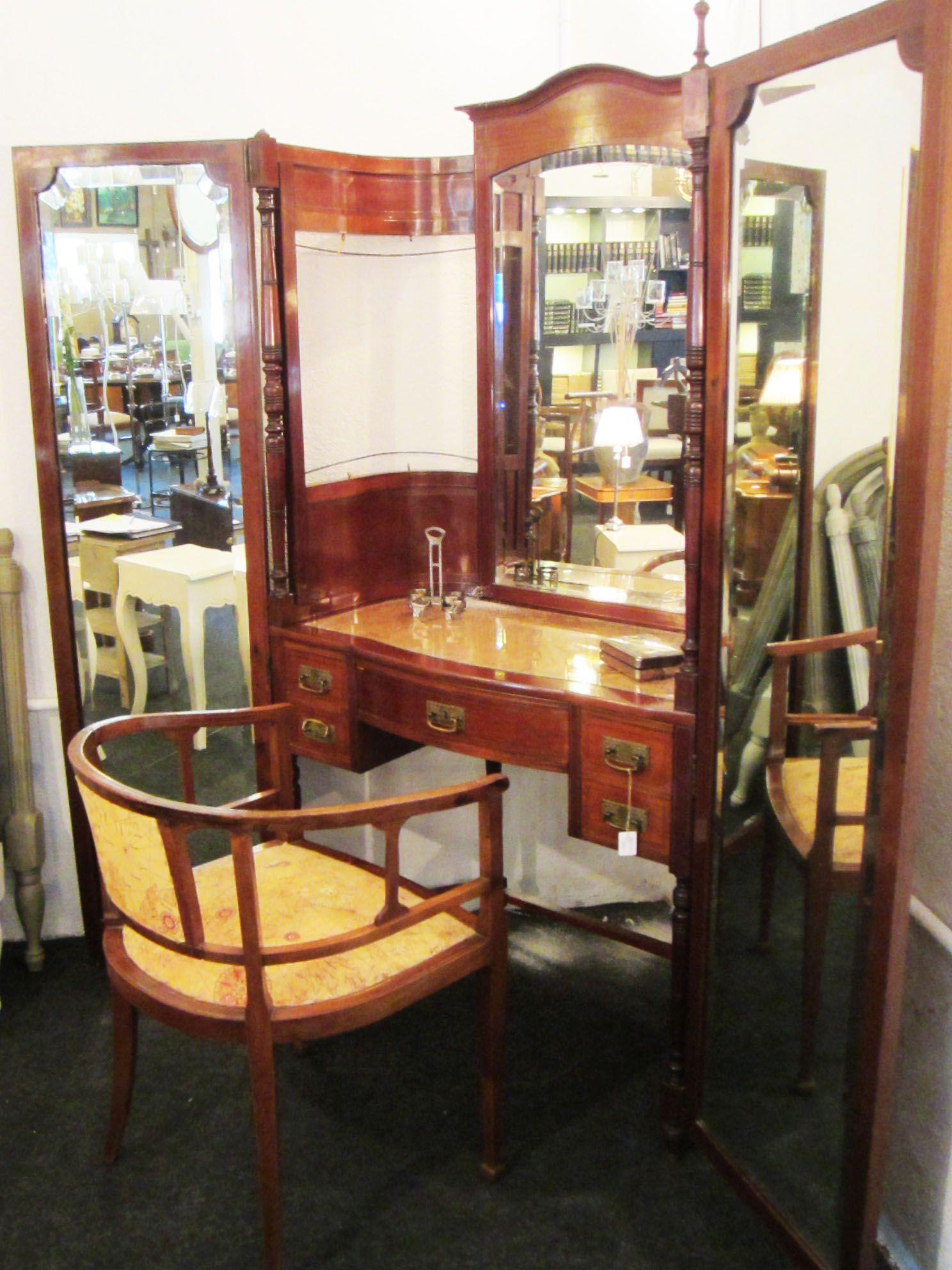 Maravilloso tocador con silla en madera de caoba - Sillas para tocador ...