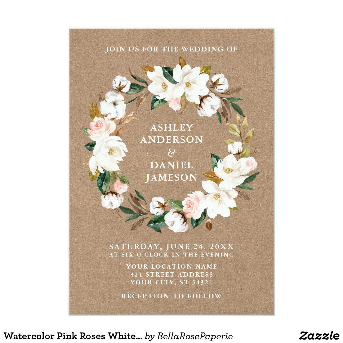 Photo of Watercolor Pink Roses White Magnolia Wreath Kraft Invitation Zazzle.com