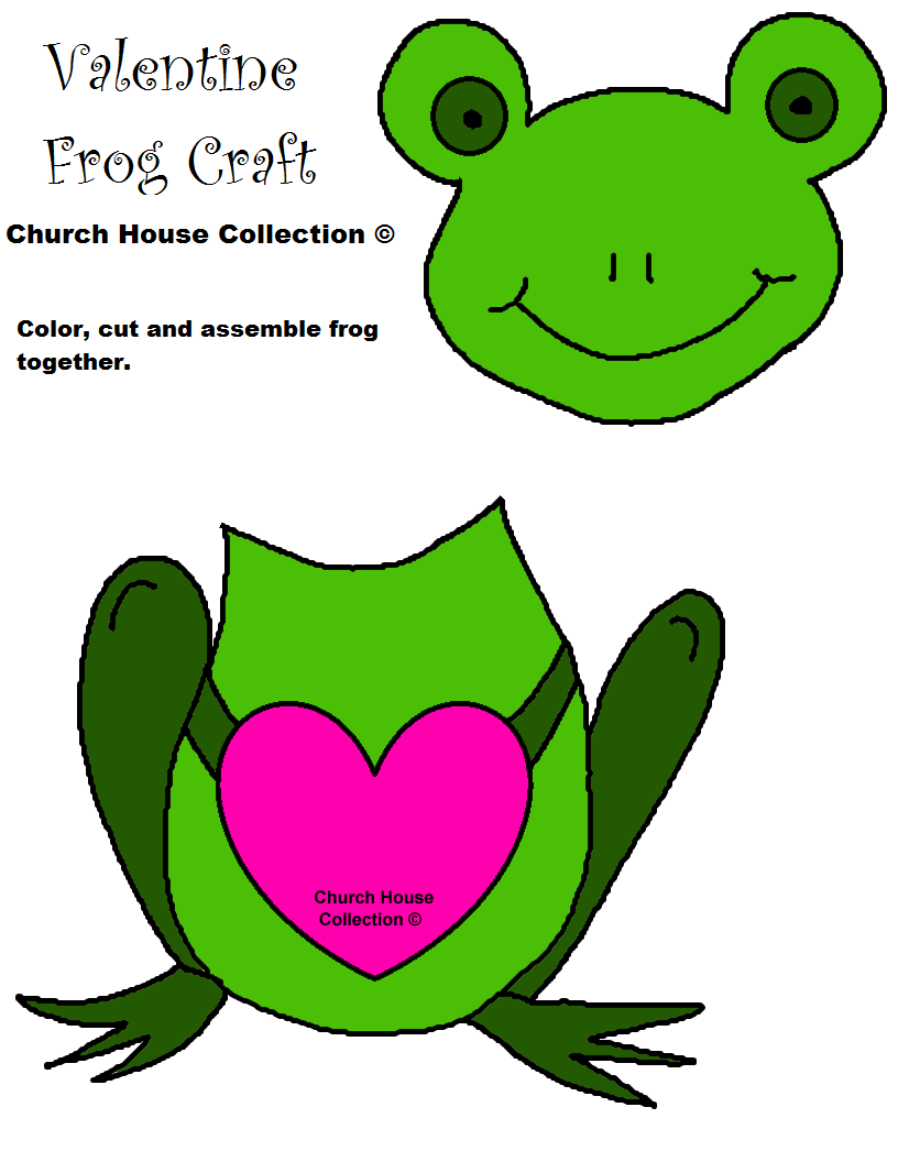 Frog Valentine Craft for kids Cutout Template no words 2.png (816 ...