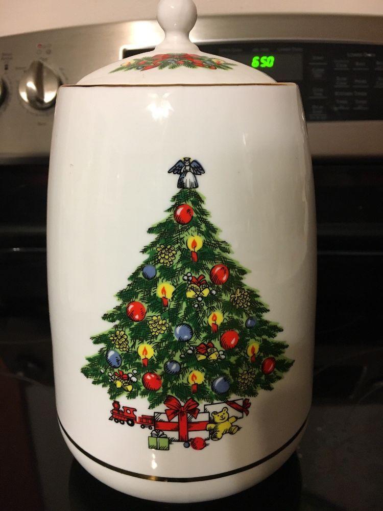 Christmas Treasure by Jamestown China Tall Cookie Jar w/ Lid