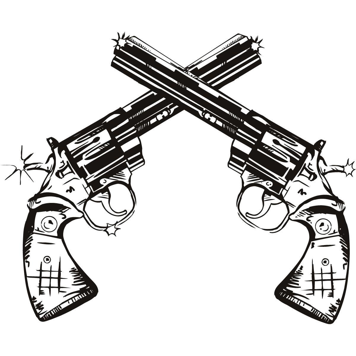 Line Art Gun : Gun drawings twin pistols wall art stickers