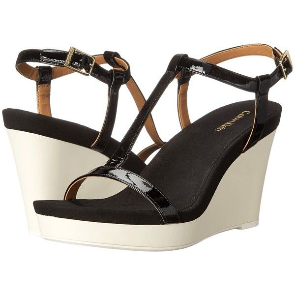 Calvin Klein Jiselle Women's Wedge Shoes, Black ($50) ❤ liked on Polyvore  featuring