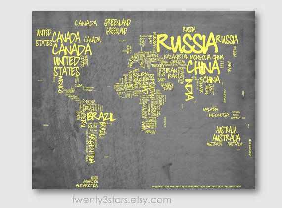 World map typography map canvas or art print choose any colors world map typography map 8x10 print choose your colors typographic atlas art with country gumiabroncs Choice Image