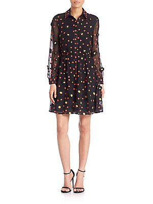 Alice + Olivia Enid Embroidered Shirt Dress - Black-