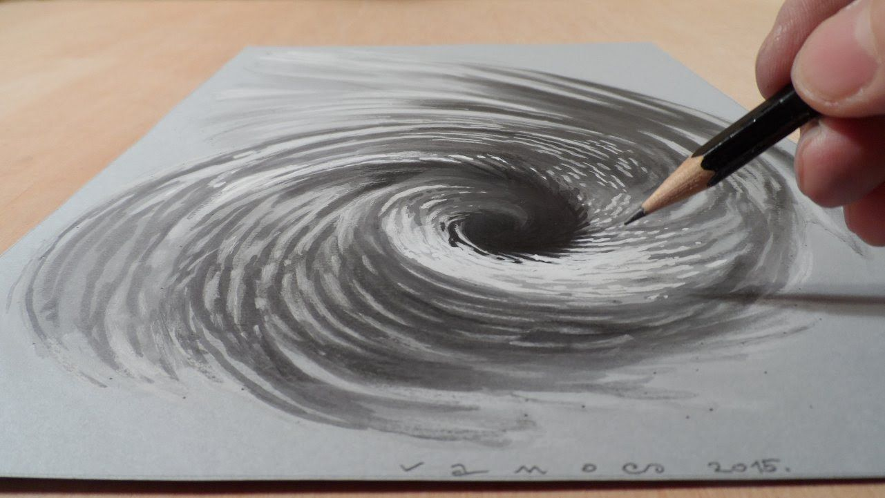 Drawing A 3d Vortex Hole Illusion Art In 2019 Drawings