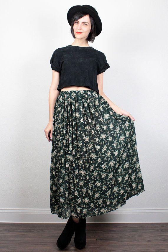 Vintage 90s Skirt Midi Skirt Maxi Skirt Dark Forest Green Ditsy Floral Print Skirt 1990s Skirt Soft Grunge Boho Hipster S Small M Medium by ShopTwitchVintage #vintage #etsy #90s #1990s #skirt #maxiskirt #midiskirt #grunge #softgrunge #floral