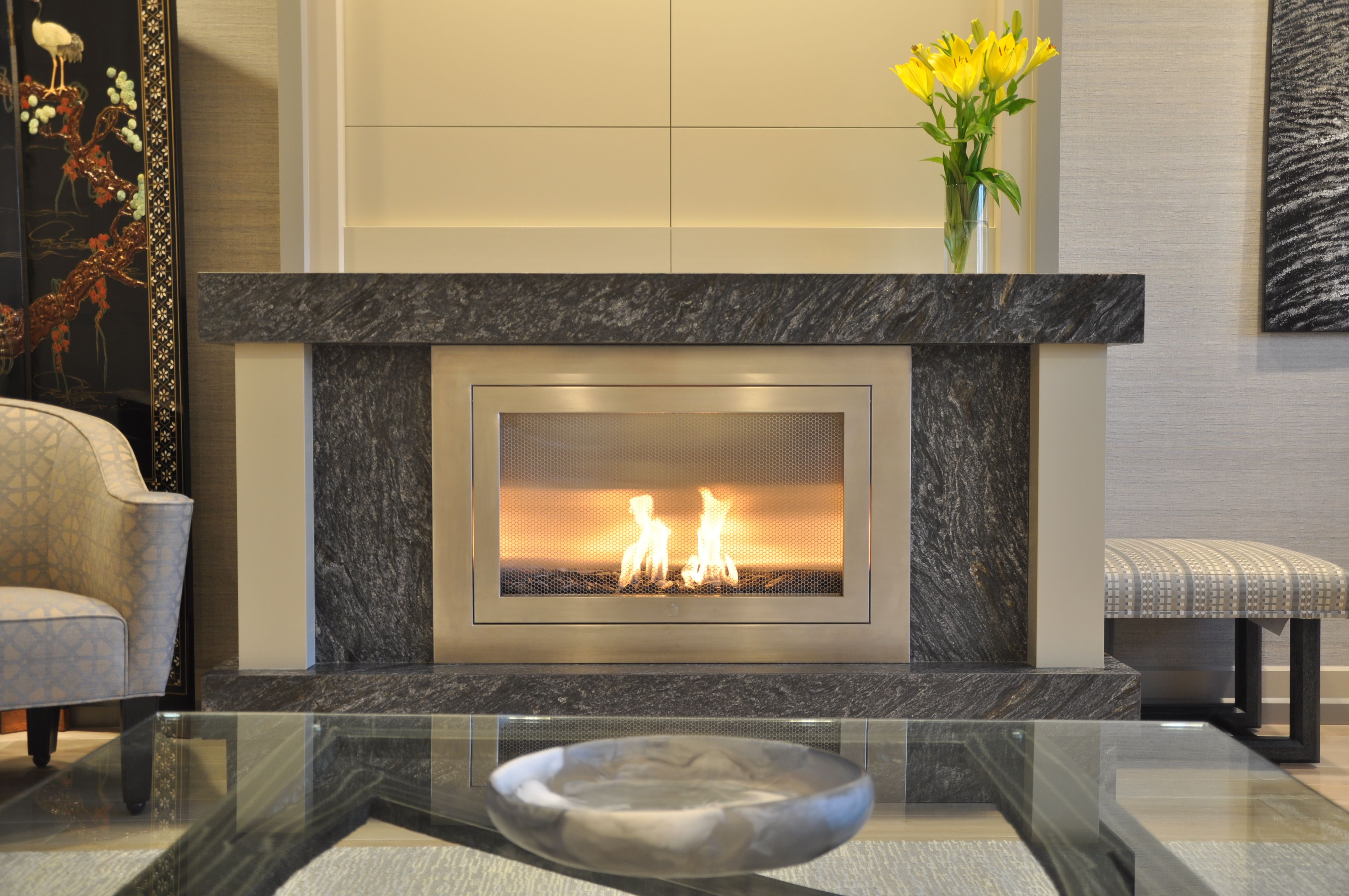 Linear Modern Stainless Steel Hearth Cabinet Ventless Fireplace