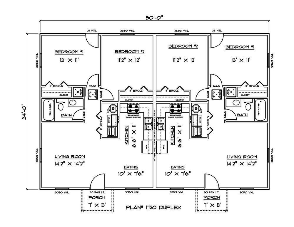 Set Of Plans For Affordable Duplex 1700 Sq Ft Htd Duplex Floor Plans Carriage House Plans Affordable House Plans