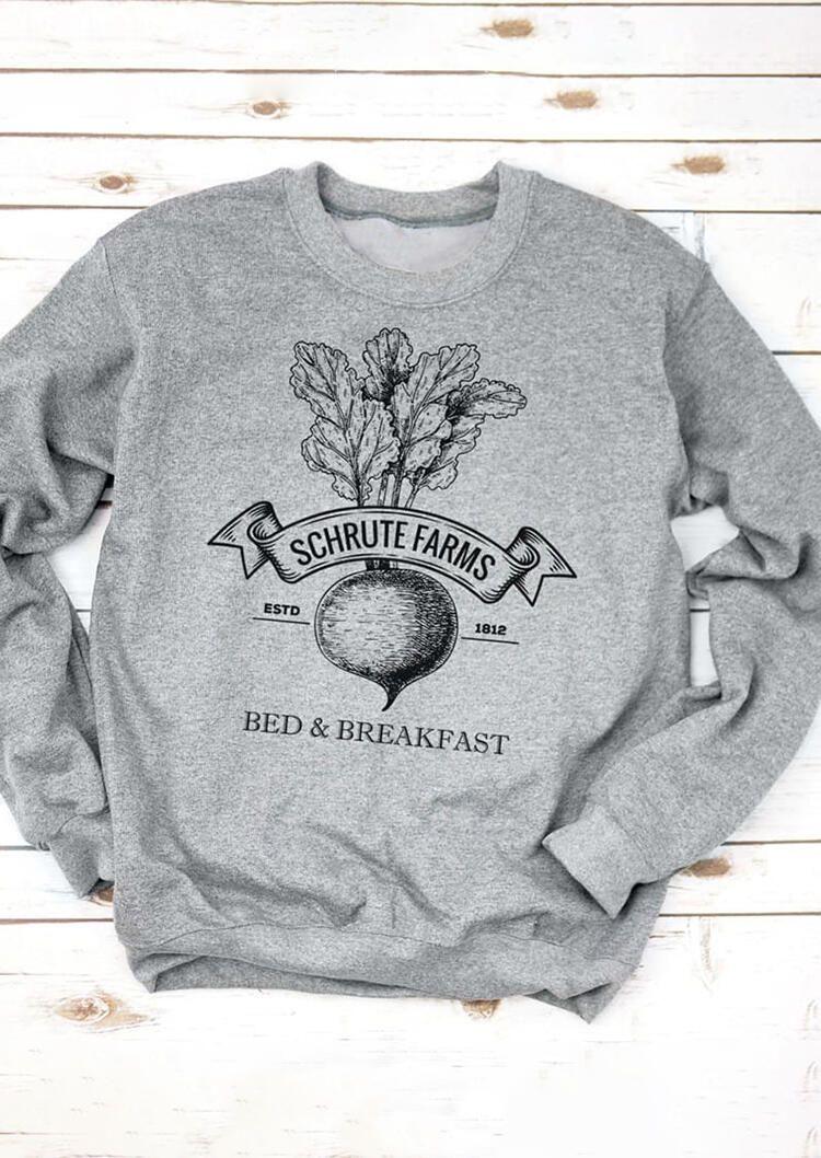 Schrute Farms Bed Breakfast Sweatshirt Sweatshirts Sweatshirts Hoodie Grey Sweatshirt [ 1058 x 750 Pixel ]