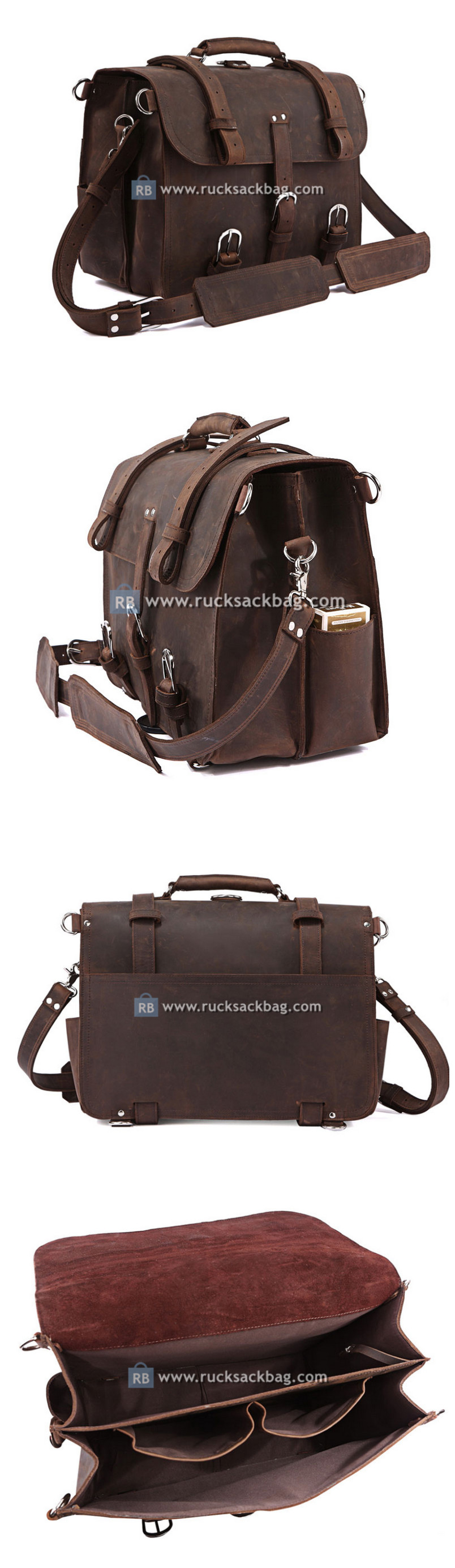 Large Capacity Backpack Leather Travel Luggage Bag
