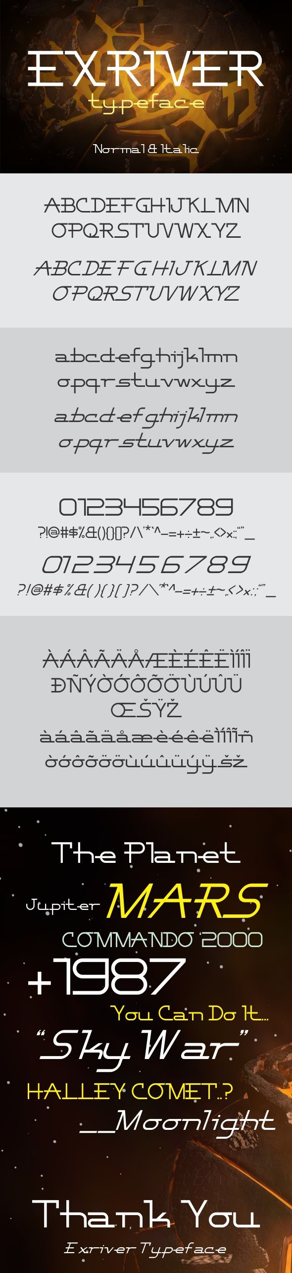 Exriver #Typeface - Futuristic #Decorative Download here: https://graphicriver.net/item/exriver-typeface/19504974?ref=alena994
