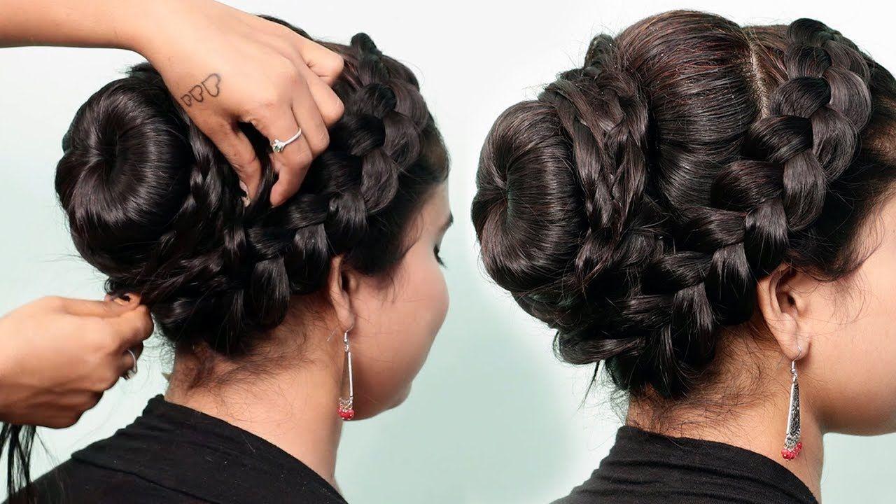 Braided Bun Hairstyle For Gown Lehenga Saree Western Wear Party Wed Bun Hairstyles Braided Bun Hairstyles Hair Styles