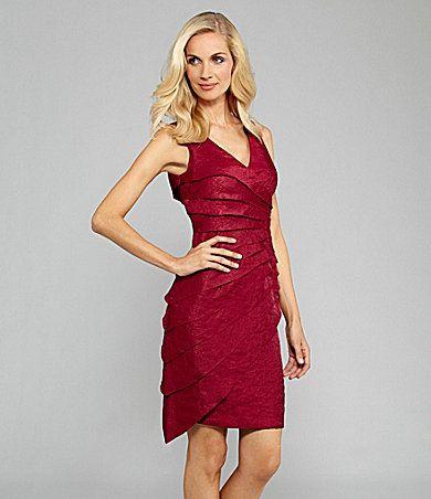 London Times Sunburst Tiered Dress | Dillards.com
