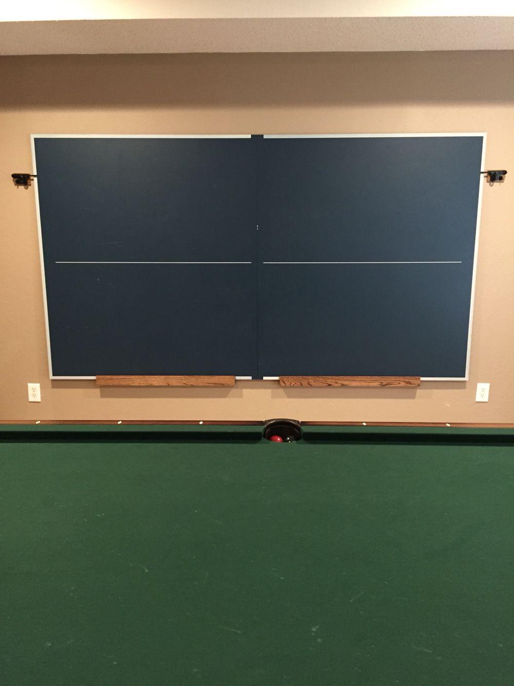 Ping Pong Table Storage Wall Art Basement Ideas Pinte - Pool table storage ideas