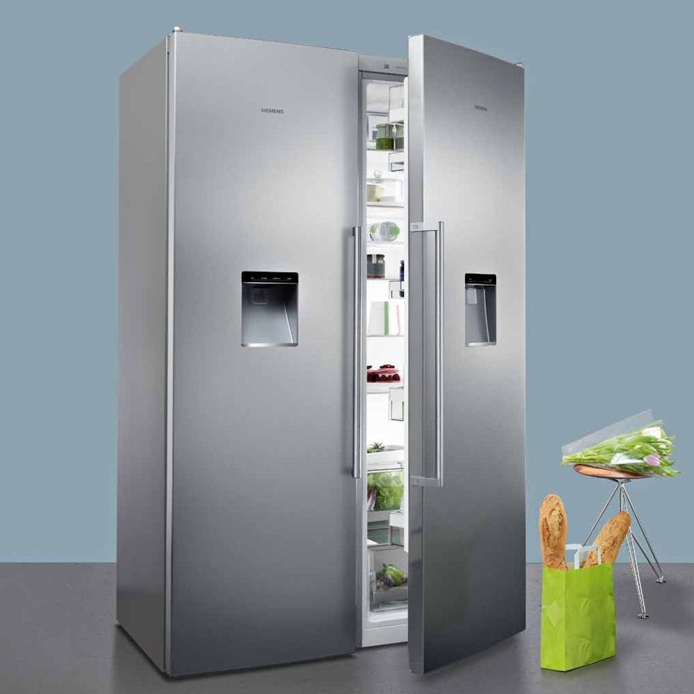 siemens side by side fridge freezer with ice water freezer kitchens and ranges. Black Bedroom Furniture Sets. Home Design Ideas
