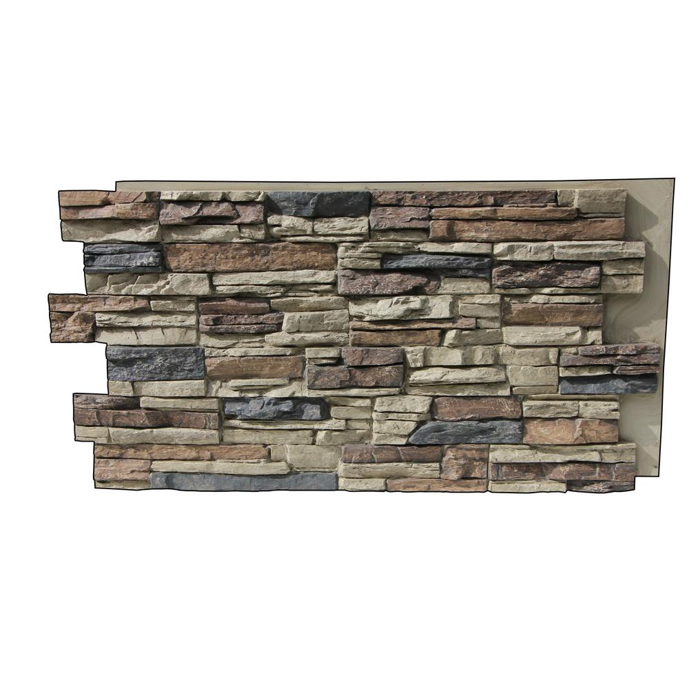 Superior Building Supplies Faux Grand Heritage 24 In X 48 In X 1 1 4 In Stack Stone Panel Rustic Lodge Hd Col2448 Rl The Home Depot Stacked Stone Panels Stone Siding Panels Faux Stone Siding