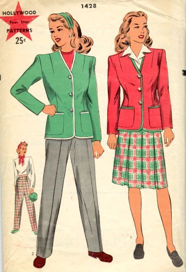 A crisp Hollywood pattern for a fitted jacket with matching skirt or slacks