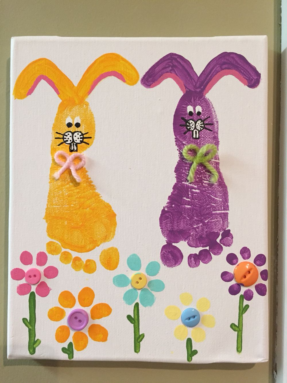 Easter Spring Toddler Canvas Painting Bunnies Buttons Flowers Easter Crafts Diy Easter Crafts Easter Projects