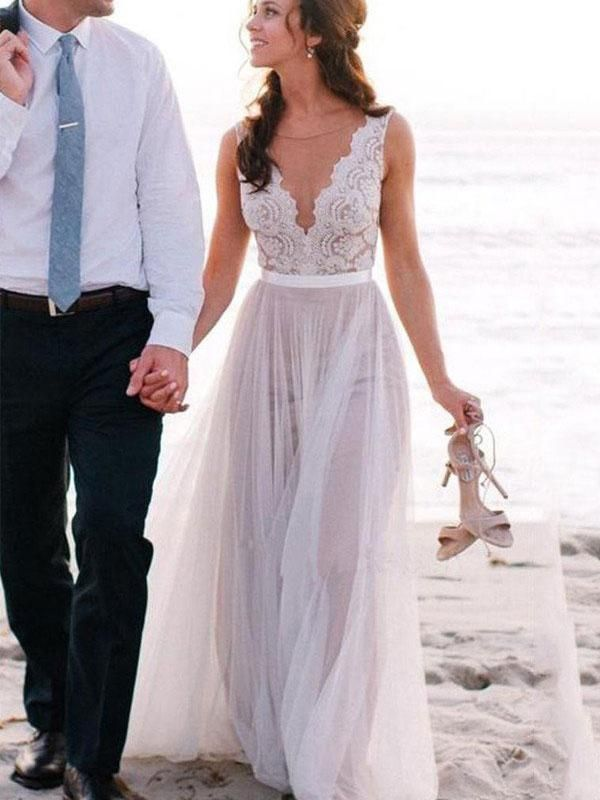 3d092c2d9a51 A-line V-neck Lace Appliqued See-through Top Beach Wedding Dresses,apd2449