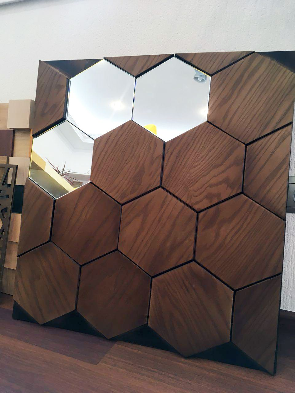 Wooden Wall Panelling Mosaic Honey With Mirrors Yourforest