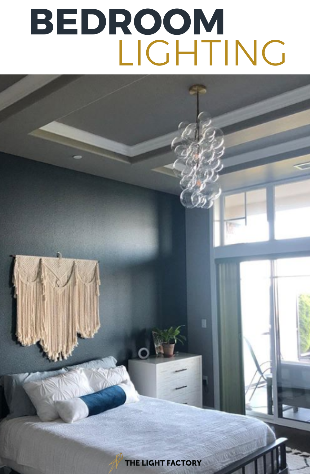 Beautiful bedroom chandelier that fits perfectly over a bed. Create a focal point in your bedroom lighting with our Waterfall Bubble Chandelier. #bedroomlightfixture #bedroomlighting #chandelier