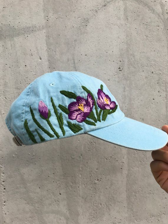 bb226ac214fbe5 Hand embroidered hiking hat floral design baseball hat for women custom hat  for girls embroidered fl