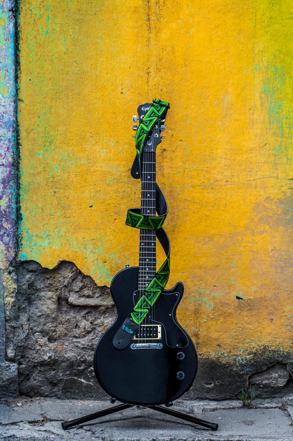Leather Guitar Strap Electric Guitar Strap Green Guitar Strap