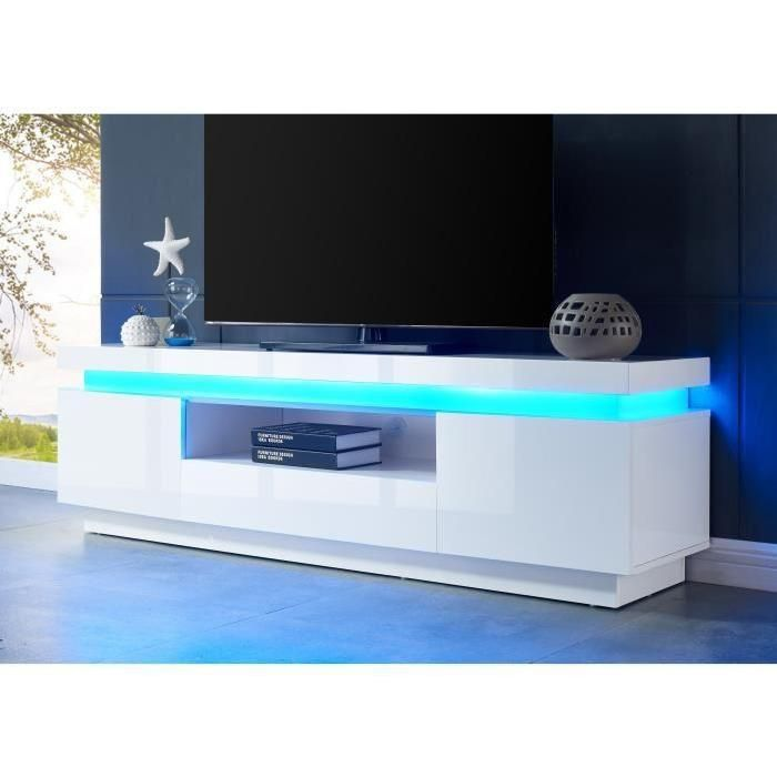 MEUBLE TV FLASH Meuble TV contemporain avec LED laqué blanc brillant ...