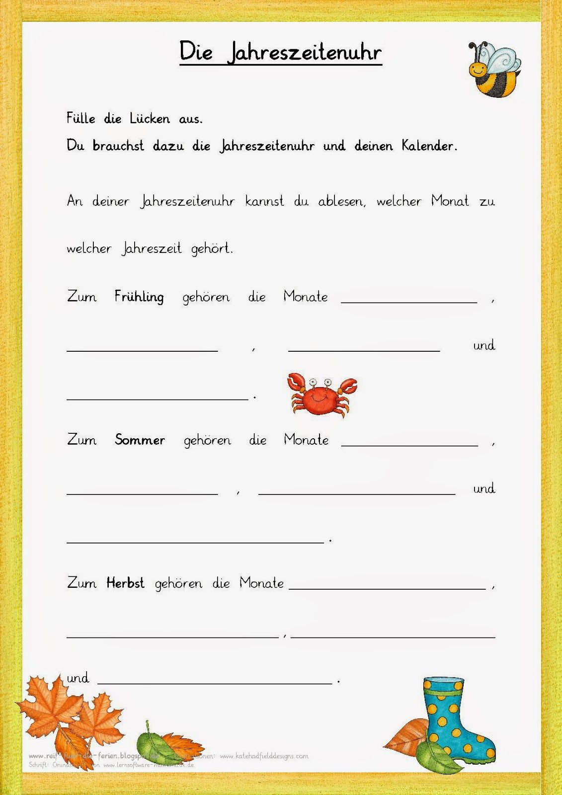 Jahreszeitenuhr - Lückentext | schule | Pinterest | Schule ...