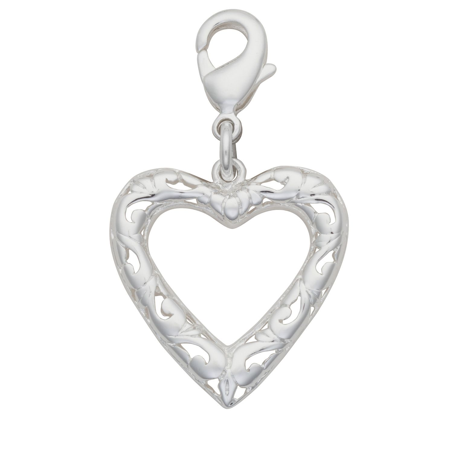 Romance your significant other with this Silver-Plated Open Filigree Heart Charm.