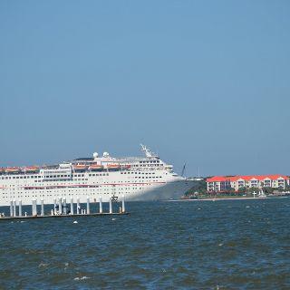 Taken In Charleston SC Cruise Ship With Patriots Point In - Cruise ships charleston sc