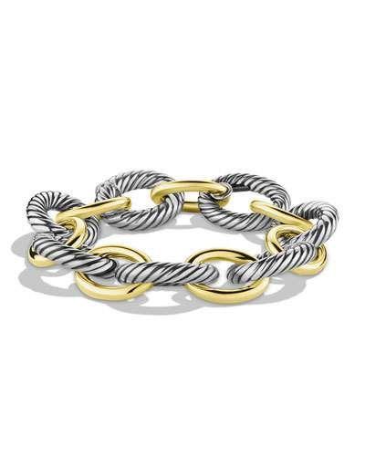 Y137A David Yurman Oval Extra-Large Link Bracelet with Gold