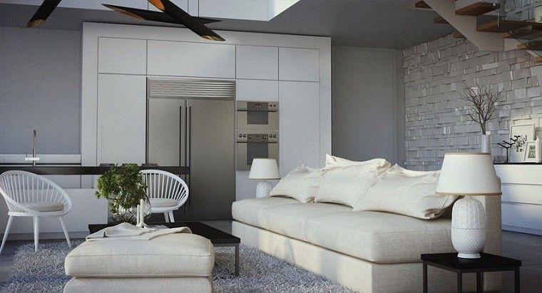 cocina abierta salon moderno isla muebles blancos ideas | Interiores ...