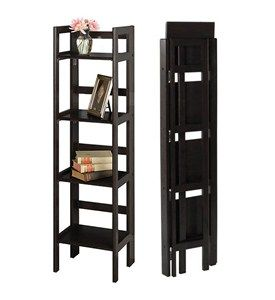 Narrow Folding Bookcase 4 Shelves By Winsome Trading Image