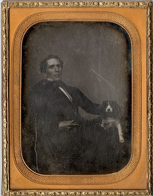 19th Century American Daguerreotype: Man with  Dog    http://www.flickriver.com/photos/20939975@N04/tags/daguerreotype/