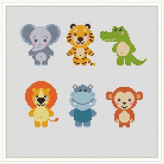 Photo of Jungle Animals Cross Stitch pattern Nursery jungle friends cross stitch Safari Animals xstitch  baby cross stitch PDF download
