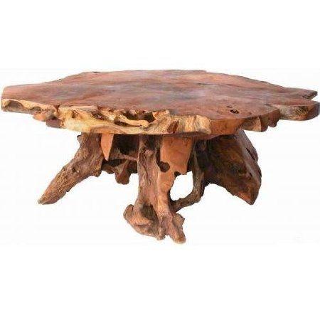Amazon Com Groovy Stuff Teak Wood Stump Coffee Table Tf 775 Patio Lawn Garden Coffee Table Wood Rustic Coffee Tables Rustic Wood Furniture