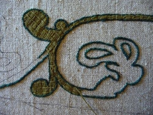 Bayeux Stitch - outline first, then fill stitch.