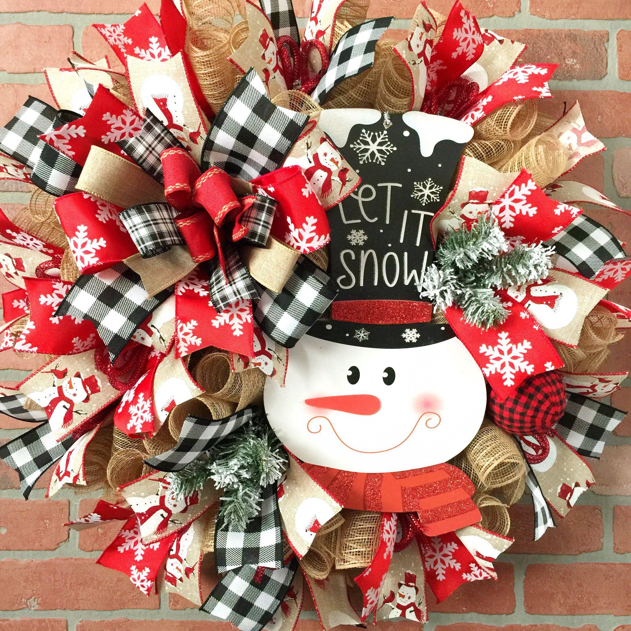 Photo of Christmas wreath, decorative mesh wreath, Santa Claus wreath, ribbon wreath.