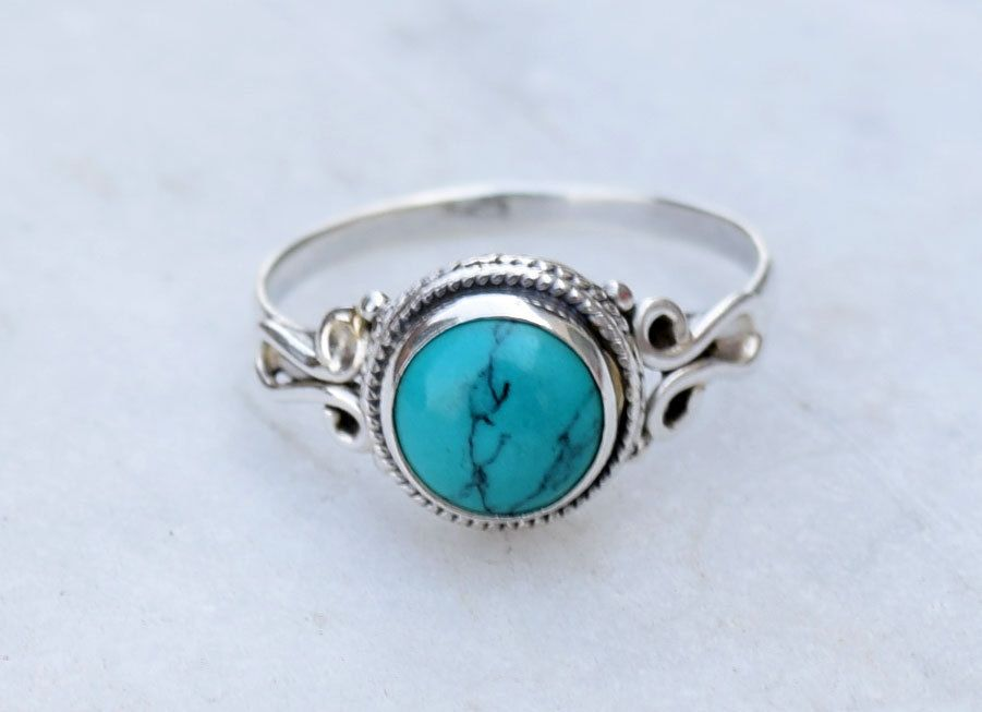 silver Turquoise ring,Turquoise stone ring, silver ring, Turquoise ...