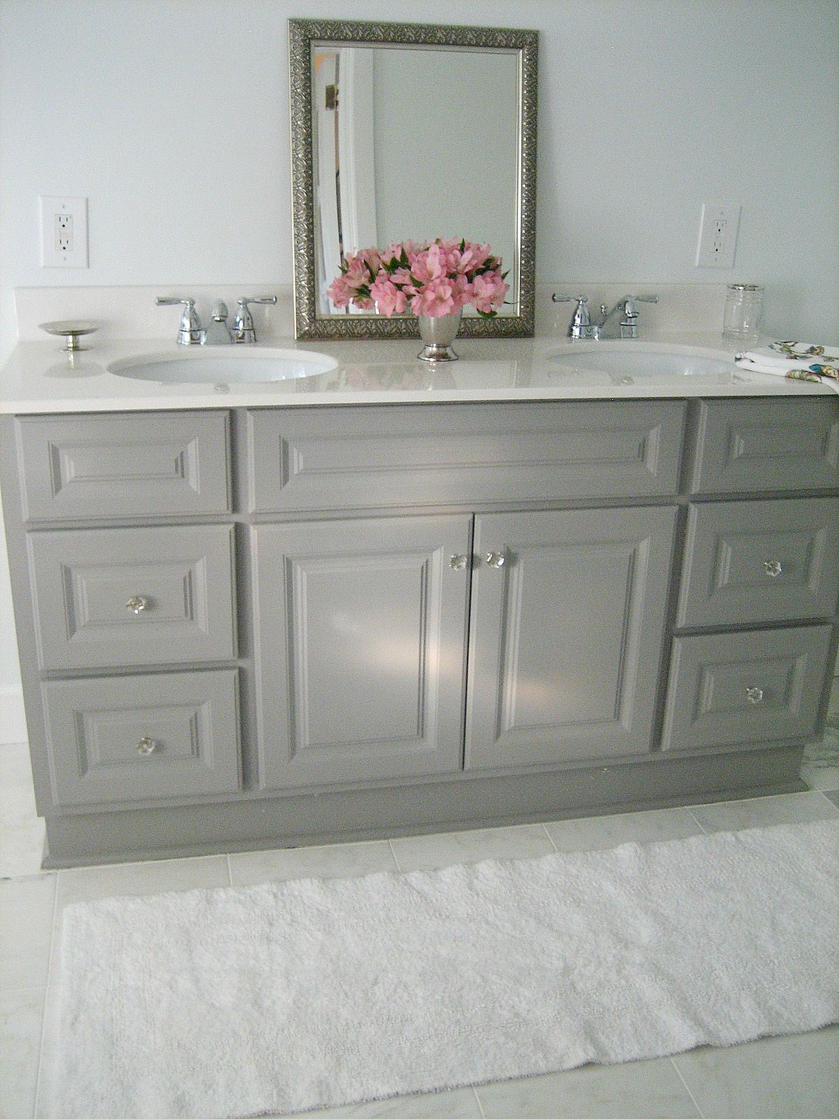 gray bathroom vanities on