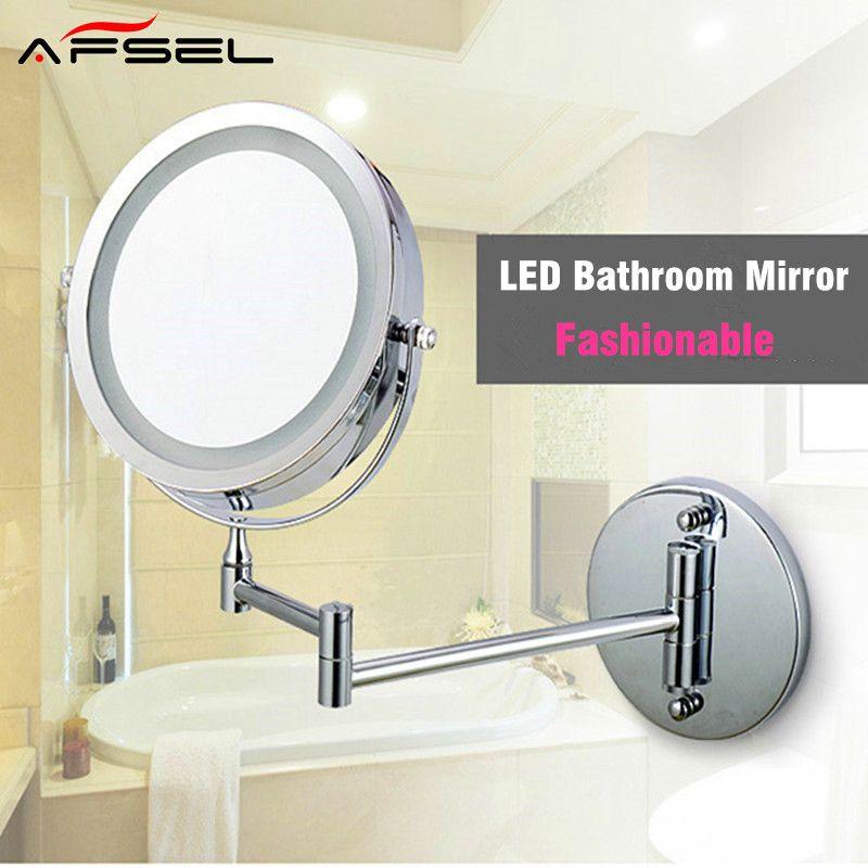 Afsel ماكياج المرايا Led الجانب أدى ضوء مرآة الحائط توسيع لطي مزدوج 10x التكبير مرآة الحمام مرآة المرحاض Bathroom Mirror Led Mirror Bathroom Mirror