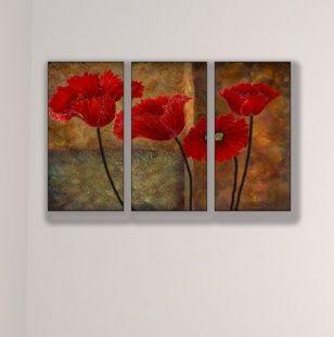 Poppies on Spice Triptych Art 33x17